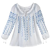 AZTEC BLUE PEASANT TOP - Large