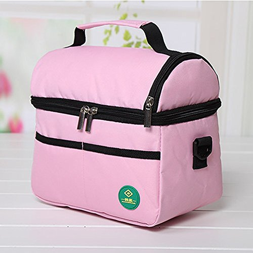 Square Thermal Bag Double Layer Portable Shoulder Picnic Bag Lunch Bag Thermal Cooler Camping Picnic Bento Pouch Storage Organizer (Pink) (White Roller Cooler compare prices)