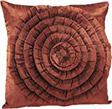 Shahenaz Home Shop Tusti Circle Flare Poly Dupion Cushion Cover - Orange and Brown