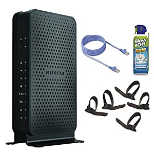 netgear n600 wifi cable modem router with air duster patch cable and cable ties. Black Bedroom Furniture Sets. Home Design Ideas