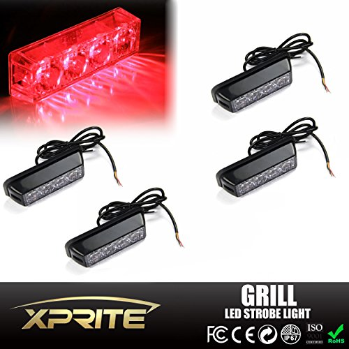 Xprite Red 4 LED 4 Watt Emergency Vehicle Waterproof Surface Mount Deck Dash Grille Strobe Light Warning Police Light Head with Clear Lens - 4 Pack (R 32 Grill compare prices)