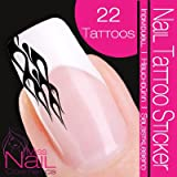 Nail Tattoo Sticker Flames - black