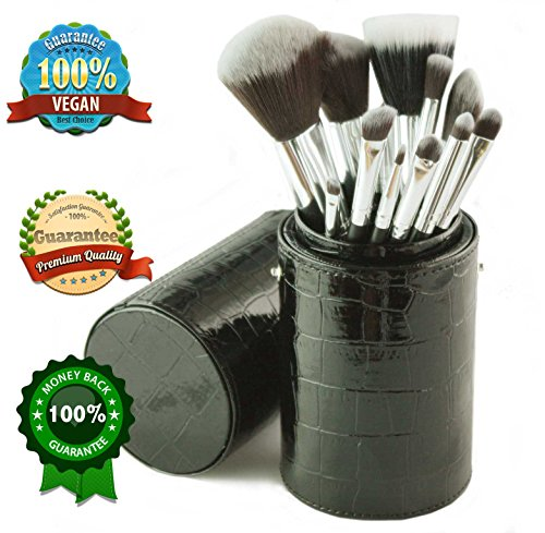 Details for Sale! Nuturu Professional Makeup Brush Set - 12 Quality Vegan Synthetic Brushes with Wooden Handle - Kabuki Cosmetic Kit in Organizer Holder Case by Globally Good®