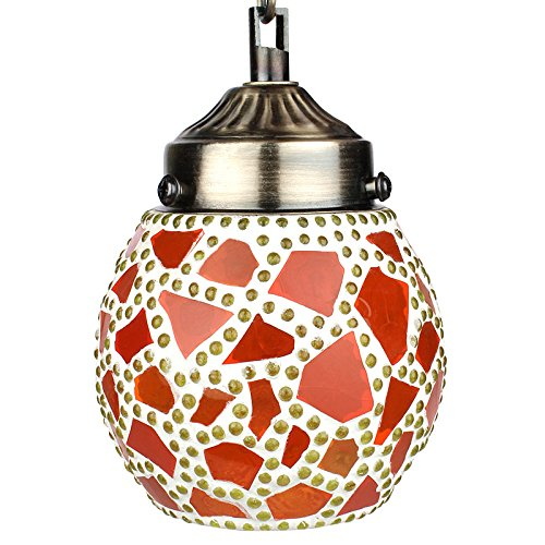 EarthenMetal Handcrafted Multicoloured Egg Shaped Red Coloured Mosaic Glass Hanging Light - B018MB89KQ