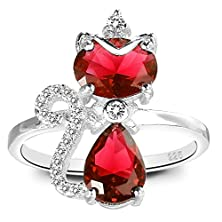 buy Elequeen 925 Sterling Silver Full Cz Princess Crown Cute Cat Cocktial Ring Rhodium Plated Size 9
