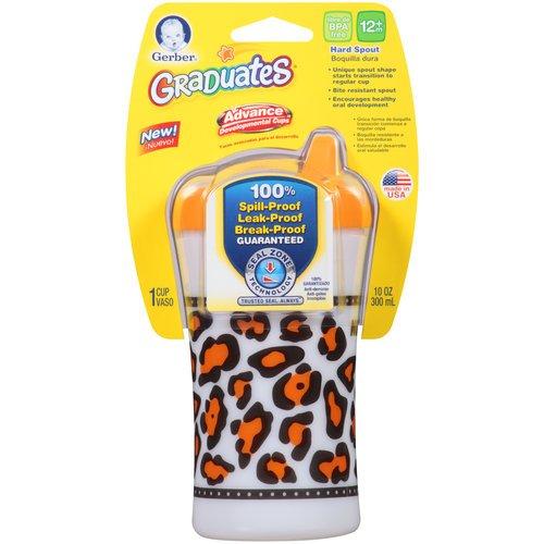 Gerber Graduates Advance Developmental Hard Spout Cup Animal Skins Design 10oz 12m+ (Orange)