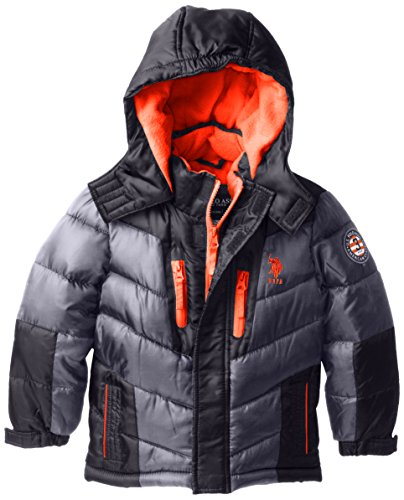 U.S. Polo Association Little Boys' Color Block Hooded Puffer Jacket, Charcoal, 2T