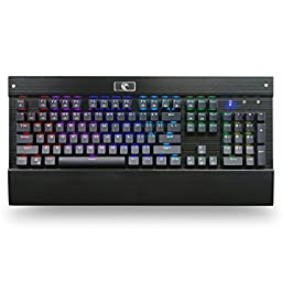 MechanicalEagle Z-77 RGB Backlit 104 Keys Mechanical Gaming Keyboard with Blue Switches DIY-Replaceable Switches - Black