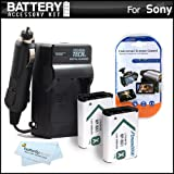 2 Pack Battery And Charger Kit For Sony Cyber-shot DSCRX100, DSC-RX100 20.2 MP Exmor CMOS Sensor Digital Camera, Sony HDR-AS10, Sony HDR-AS15 HD Action Camcorder Includes 2 Extended Replacement (1600Mah) NP-BX1 Batteries + Ac/Dc Rapid Travel Charger +More
