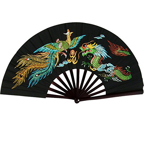 Bamboo Kung Fu Fighting Fan Dragon And Phoenix (Black) (Kung Fu Fighting Fan compare prices)
