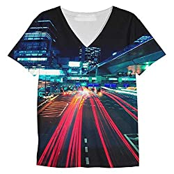 Snoogg City Quick Mens Casual V Neck All Over Printed T Shirts Tees