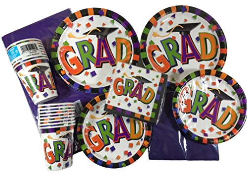 85-Piece Graduation Party Supplies and Decorations Set - Multi-Bright Colored Paper Plates, Napkins, Cups and Plastic Tablecloth Bundle