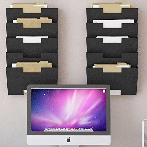 Black Wall Mount Steel Vertical File Organizer Holder Rack
