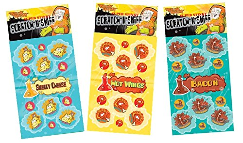 Dr. Stinky's Scratch N Sniff Stickers 3-Pack- Bacon, Hot Wings, Smelly Cheese 81 Stickers