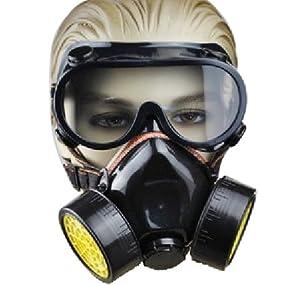 TRIXES 2 x Atemschutzmaske und Schutzbrille gegen Staub und Farblack mit zwei Filtern