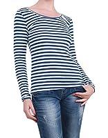 ING - Haut style marinière, Col Rond - Couleur : Bleu