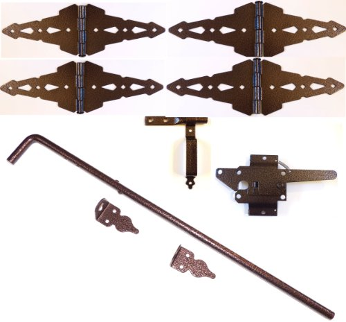 Wood Fence Double Gate Kit - Hammered Bronze Finish (Wood Gate Hinges, Latch and Drop Rod)