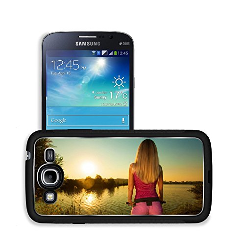 Luxlady Premium Samsung Galaxy Mega 5.8 Aluminum Backplate Bumper Snap Case IMAGE ID: 31398848 Close up of rear view of a pretty woman on bicycle relaxing at Sunset