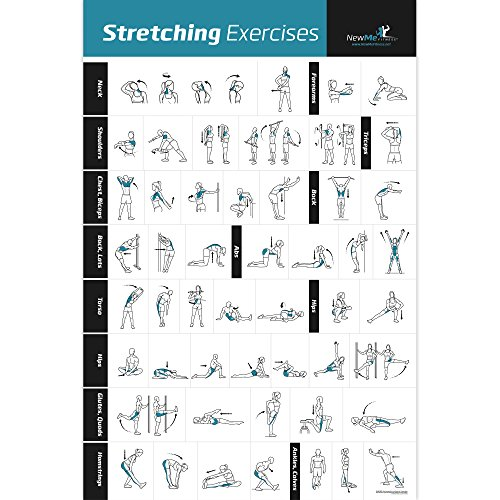Stretching Exercise Poster Laminated - Shows How to Stretch Specific Muscles for Your Workout - Home Gym  Fitness Guide - 20