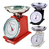 NEW 5KG TRADITIONAL WEIGHING KITCHEN SCALE BOWL RETRO SCALES MECHANICAL VINTAGE (CREAM)