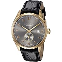 Hamilton Men's 'Jazzmaster' Swiss Automatic Gold and Black Leather Casual Watch