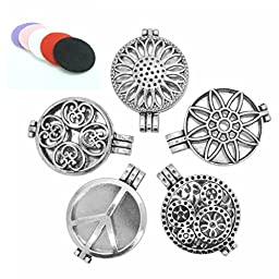 5pcs Mix Style 30mm Tibetan Silver Locket Essential Oil Aromatherapy Diffuser Pendant Charms Necklace
