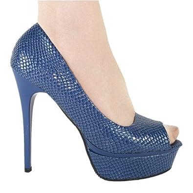 High-Heels-Pumps: High Heels Peeptoe Plateau im Italy Design 14 cm Stiletto blau Lack