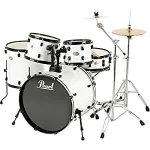 pearl sound check 5 piece drum set with zildjian cymbals white black musical. Black Bedroom Furniture Sets. Home Design Ideas