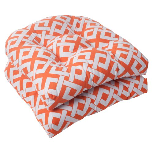 Pillow Perfect Indoor/Outdoor Boxin Wicker Seat Cushion, Orange, Set of 2 image