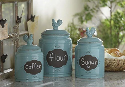 Set of 3 Durable Blue Chalkboard Rooster Canister Set with Tight Lids for Kitchen or Bathroom, Food Storage Containers, Ceramic,Aqua, 6