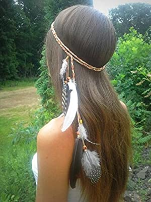 A&c Indiana Peacock Feather Headband, Feather Hair Accessories with Bead for Women and Girls