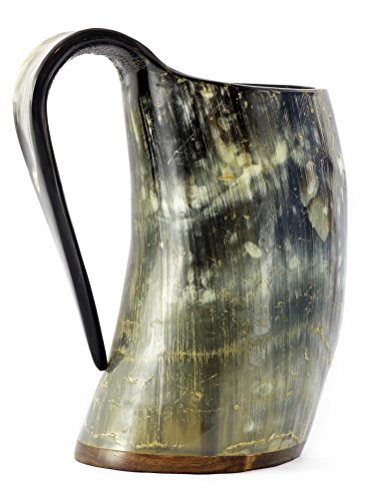 VIKING DRINKING HORN MUG - 20 Oz Handcrafted Ox Cup Goblet - Drink Mead & Beer Like Game of Thrones Heroes With This Large Ale Stein - Great Craftsmanship And Gift Box - A Perfect Present For Real Men (Vikings Season 1 Episode 4 compare prices)