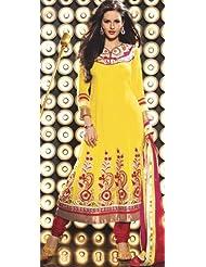 Exotic India Aspen-Gold Flared Choodidaar Kameez Suit With Metallic - Aspen-Gold