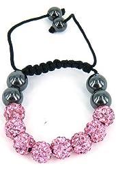 Shamballa Inspired 10mm Crystal Beads Kids Children Bracelets Pink Beads