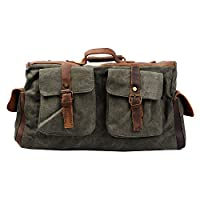 S-ZONE Retro Canvas Leather Duffel Weekend Tote Bag Travel Luggage