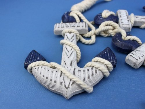 Hampton NauticalWooden Rustic Blue Triple Anchor Set, 7""