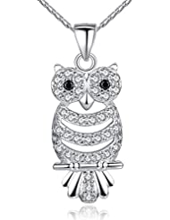 Wearyourfashion AAA Austrian Zircon Crystals 18K White Gold Plated Owl Pendant Necklace For Women