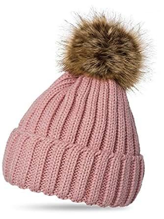 CASPAR MU054 Damen Winter Strickmütze mit großem Fellbommel, Farbe:altrosa