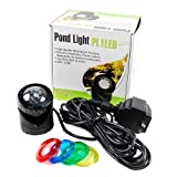 Jebao PL1LED-1 Submersible Pond LED Light with Colored Lenses (Color: Black, Tamaño: Set of 1)