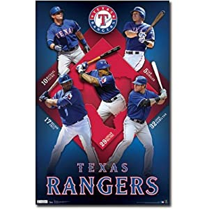 Texas Rangers 2011 Collage Young Kinsler Hamilton Beltre Cruz Sports Poster Print