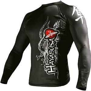 Hayabusa Official MMA Mizuchi Longsleeve Rashguard Shirt/Top - Black / X-Large