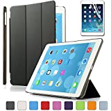 BESDATA Magnetic Smart Cover Stand + Translucent Hard Back Case for Apple iPad Air + Free Stylus + Screen Protector - Black - PT4100