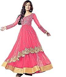 Fashion Hub Women's net salwar suit pink (rk_088)