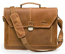 Hot Sale Vicenzo Brown Genuine Leather Men's Briefcase/laptop/messenger Bag