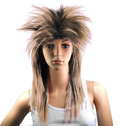[Gleader 80s LADIES GLAM PUNK ROCK ROCKER CHICK TINA TURNER WIG FOR A FANCY DRESS COSTUME - Brown Black by] (80s Chick Costume)