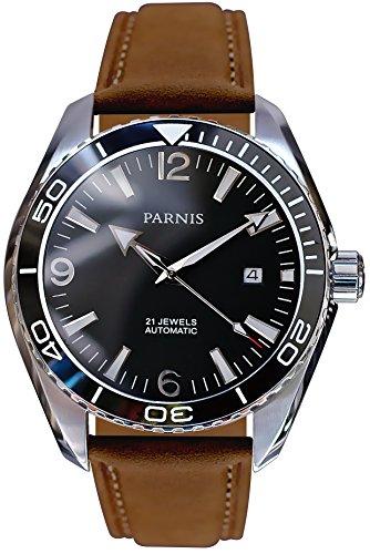 PARNIS Automatikuhr Modell 3210, Herrenuhr, Ø 45mm, Edelstahl, Keramik, Saphirglas, 5BAR, Automatik-Uhrwerk von MIYOTA