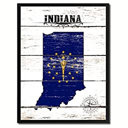 Indiana State Flag Map Art Picture Frame Vintage Office Interior Wall Home Decor Cottage Chic Gift Ideas, 18''x23''