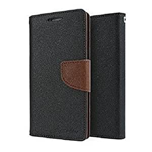 STAPNA Mercury Goospery Wallet Diary Faux Leather flip Cover with stand for Lyf Flame 4 (Black & Brown)