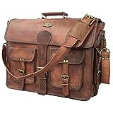 DHK 18 Inch Vintage Handmade Leather Messenger Bag for Laptop Briefcase Best Computer Satchel School Distressed Bag (18 inch) (Color: BROWN, Tamaño: 18 inch)