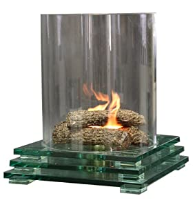 Contemporary Glass Fire Pit Indoor or Outdoor Fireplace
